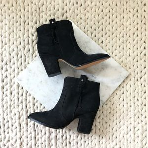 Sam Edelman Black Suede Heeled Ankle Boots